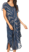 Sakkas Jonna Women's Short Sleeve Maxi Tie Dye Batik Long Casual Dress#color_19338-Teal