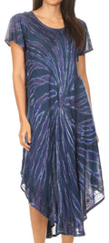Sakkas Jonna Women's Short Sleeve Maxi Tie Dye Batik Long Casual Dress#color_19338-TealBlue