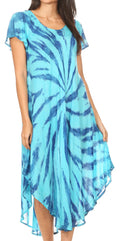 Sakkas Jonna Women's Short Sleeve Maxi Tie Dye Batik Long Casual Dress#color_19338-Turq