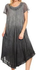 Sakkas Jonna Women's Short Sleeve Maxi Tie Dye Batik Long Casual Dress#color_Black