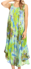 Sakkas Neja Women's Casual Maxi Summer Sleeveless Loose Fit Tie Dye Tank Dress #color_19251-GreenPurple