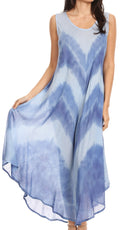 Sakkas Neja Women's Casual Maxi Summer Sleeveless Loose Fit Tie Dye Tank Dress #color_19289-RoyalBlue