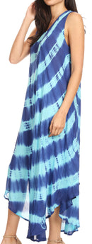 Sakkas Neja Women's Casual Maxi Summer Sleeveless Loose Fit Tie Dye Tank Dress