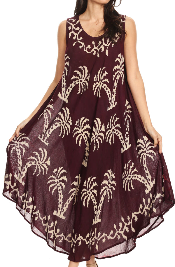 Sakkas Irene Women's Casual Tie-dye Maxi Summer Sleeveless Loose Fit Tank Dress #color_19250-Burgundy