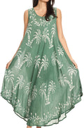 Sakkas Irene Women's Casual Tie-dye Maxi Summer Sleeveless Loose Fit Tank Dress #color_19250-Green