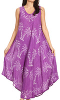 Sakkas Irene Women's Casual Tie-dye Maxi Summer Sleeveless Loose Fit Tank Dress #color_19250-Purple