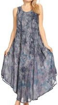 Sakkas Irene Women's Casual Tie-dye Maxi Summer Sleeveless Loose Fit Tank Dress #color_19252-Gray