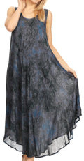 Sakkas Irene Women's Casual Tie-dye Maxi Summer Sleeveless Loose Fit Tank Dress #color_19252-Navy