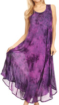 Sakkas Irene Women's Casual Tie-dye Maxi Summer Sleeveless Loose Fit Tank Dress #color_19252-Purple