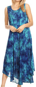 Sakkas Irene Women's Casual Tie-dye Maxi Summer Sleeveless Loose Fit Tank Dress #color_19252-RoyalBlue