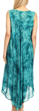 Sakkas Irene Women's Casual Tie-dye Maxi Summer Sleeveless Loose Fit Tank Dress