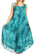 Sakkas Irene Women's Casual Tie-dye Maxi Summer Sleeveless Loose Fit Tank Dress #color_19252-Teal