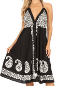Sakkas Mari Women's Casual Beach Summer Sleeveless Sundress Adjustable Strap Dress#color_1921-Black