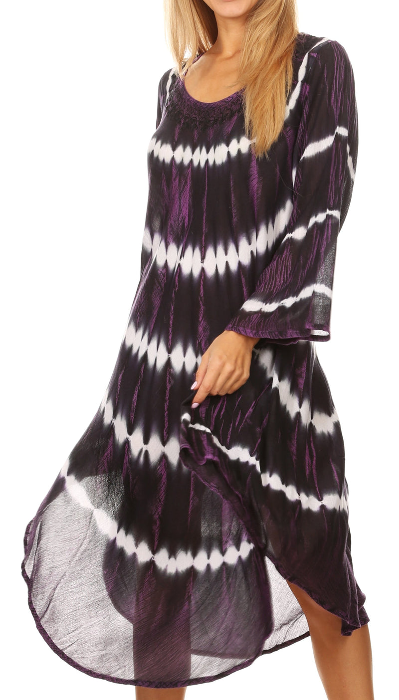 Sakkas Dori Women's Long Sleeves Casual Loose Swing Midi Dress Caftan Cover-up