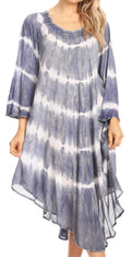 Sakkas Dori Women's Long Sleeves Casual Loose Swing Midi Dress Caftan Cover-up #color_19261-Periwinkle