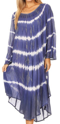 Sakkas Dori Women's Long Sleeves Casual Loose Swing Midi Dress Caftan Cover-up #color_19261-RoyalBlue