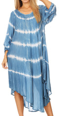 Sakkas Dori Women's Long Sleeves Casual Loose Swing Midi Dress Caftan Cover-up #color_19261-SkyBlue