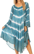 Sakkas Dori Women's Long Sleeves Casual Loose Swing Midi Dress Caftan Cover-up #color_19261-Teal