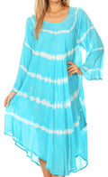 Sakkas Dori Women's Long Sleeves Casual Loose Swing Midi Dress Caftan Cover-up #color_19261-Turquoise