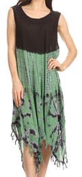 Sakkas Dori Women's Long Sleeves Casual Loose Swing Midi Dress Caftan Cover-up #color_BlackGreen