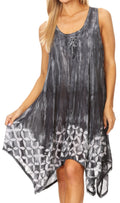 Sakkas Mily Women's Swing Loose Sleeveless Tie Dye Short Cocktail Dress Cover-up #color_19265-Black