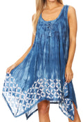 Sakkas Mily Women's Swing Loose Sleeveless Tie Dye Short Cocktail Dress Cover-up #color_19265-Blue