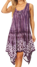 Sakkas Mily Women's Swing Loose Sleeveless Tie Dye Short Cocktail Dress Cover-up #color_19265-Purple