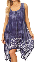 Sakkas Mily Women's Swing Loose Sleeveless Tie Dye Short Cocktail Dress Cover-up #color_19265-RoyalBlue