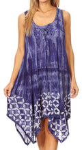Sakkas Mily Women's Swing Loose Sleeveless Tie Dye Short Cocktail Dress Cover-up #color_19265-Violet