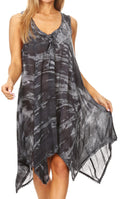 Sakkas Mily Women's Swing Loose Sleeveless Tie Dye Short Cocktail Dress Cover-up #color_19266-Black