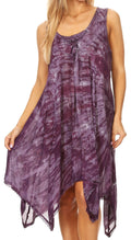 Sakkas Mily Women's Swing Loose Sleeveless Tie Dye Short Cocktail Dress Cover-up #color_19266-Purple