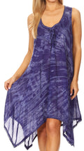 Sakkas Mily Women's Swing Loose Sleeveless Tie Dye Short Cocktail Dress Cover-up #color_19266-RoyalBlue