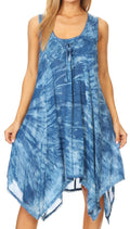 Sakkas Mily Women's Swing Loose Sleeveless Tie Dye Short Cocktail Dress Cover-up #color_19266-SkyBlue