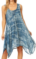 Sakkas Mily Women's Swing Loose Sleeveless Tie Dye Short Cocktail Dress Cover-up #color_19266-Teal