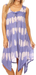 Sakkas Mily Women's Swing Loose Sleeveless Tie Dye Short Cocktail Dress Cover-up #color_Periwinkle