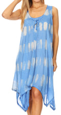 Sakkas Mily Women's Swing Loose Sleeveless Tie Dye Short Cocktail Dress Cover-up #color_SkyBlue