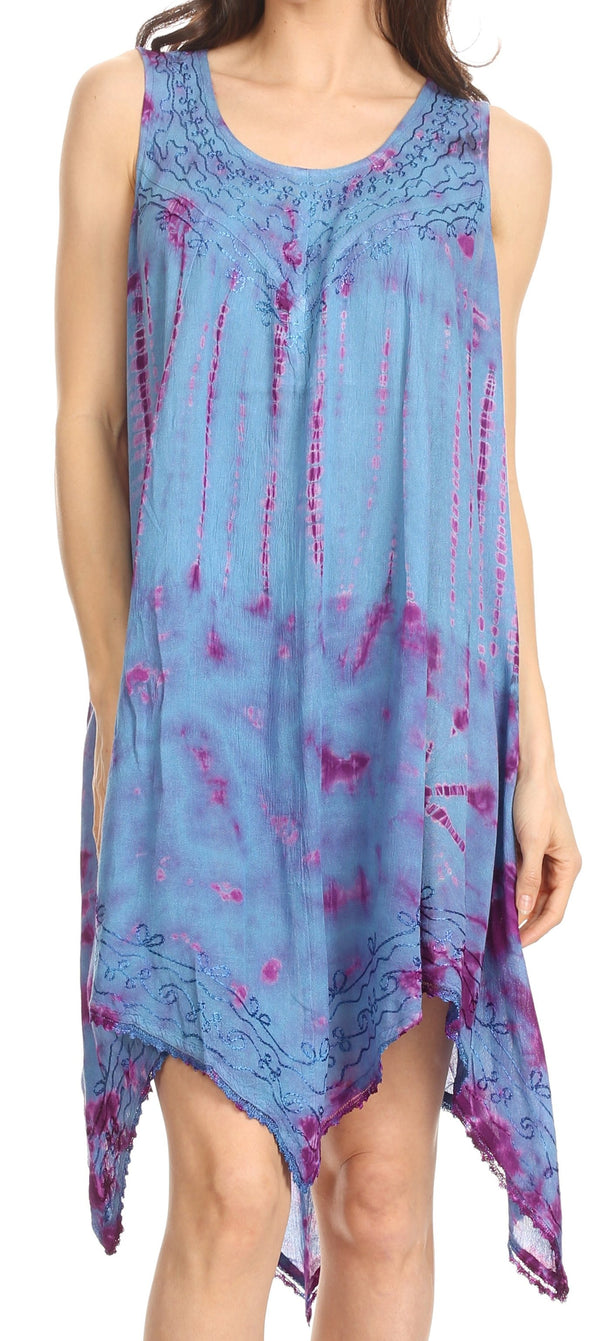 Sakkas Jula Women's Swing Shift Loose Sleeveless Short Cocktail Dress Cover-up#color_19268-BluePurple