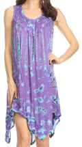 Sakkas Jula Women's Swing Shift Loose Sleeveless Short Cocktail Dress Cover-up#color_19268-Purple