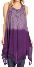 Sakkas Jula Women's Swing Shift Loose Sleeveless Short Cocktail Dress Cover-up#color_19269-Purple