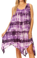 Sakkas Jula Women's Swing Shift Loose Sleeveless Short Cocktail Dress Cover-up#color_Purple