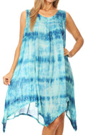 Sakkas Jula Women's Swing Shift Loose Sleeveless Short Cocktail Dress Cover-up#color_Turquoise