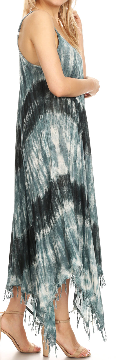 group-19277-Black (Sakkas Jass Women's Spaghetti Strap Casual Summer Sleeveless Tie-dye Dress  )