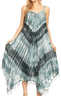 Sakkas Jass Women's Spaghetti Strap Casual Summer Sleeveless Tie-dye Dress  #color_19277-Black