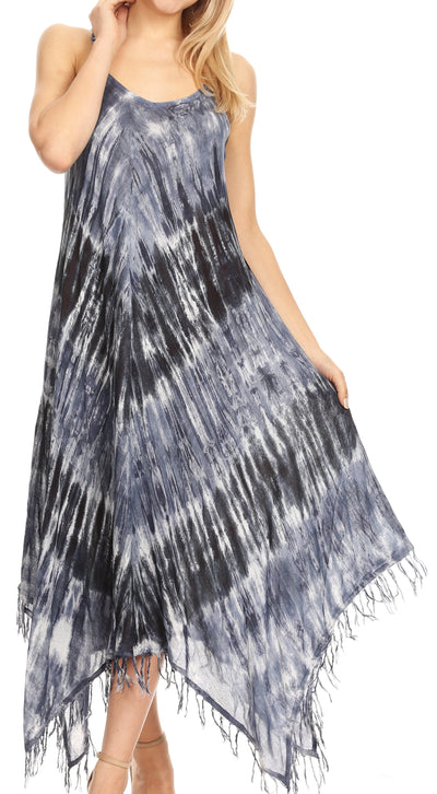 group-19277-Navy (Sakkas Jass Women's Spaghetti Strap Casual Summer Sleeveless Tie-dye Dress  )