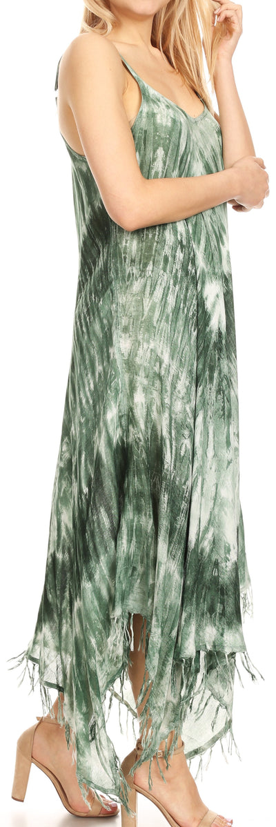 group-19277-Olive (Sakkas Jass Women's Spaghetti Strap Casual Summer Sleeveless Tie-dye Dress  )