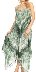 Sakkas Jass Women's Spaghetti Strap Casual Summer Sleeveless Tie-dye Dress  #color_19277-Olive