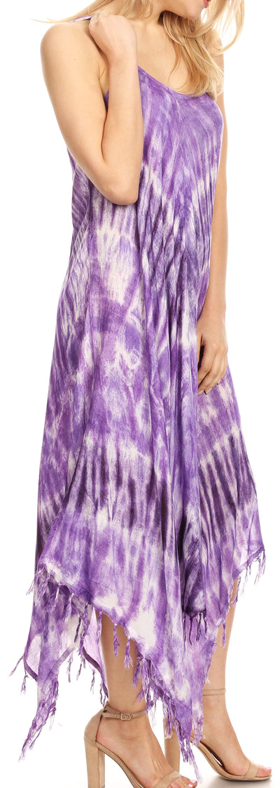 group-19277-Purple (Sakkas Jass Women's Spaghetti Strap Casual Summer Sleeveless Tie-dye Dress  )