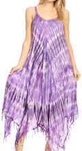 Sakkas Jass Women's Spaghetti Strap Casual Summer Sleeveless Tie-dye Dress  #color_19277-Purple