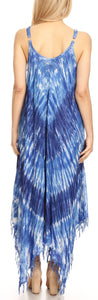 group-19277-RoyalBlue (Sakkas Jass Women's Spaghetti Strap Casual Summer Sleeveless Tie-dye Dress  )