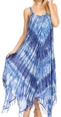 Sakkas Jass Women's Spaghetti Strap Casual Summer Sleeveless Tie-dye Dress  #color_19277-RoyalBlue